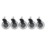 5 pièces roues de roulette de chaise de bureau 3 pouces roues de remplacement pivotantes en caoutchouc Soft rouleaux de sécurité accessoires de matériel de meubles