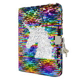 A5 Kid Girls Magic Reversible Sequin Notebook Diary Lined Notepad Pattern Modifiable with Lock for School Office Supplies