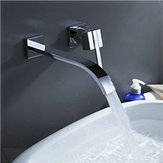 Wall Mount Waterfall Faucet Chrome Brass Single Handle Kitchen Bathroom Tub Sink Hot Cold Mix Tap