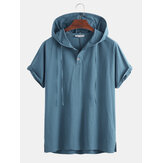 Mens 100% Cotton Hooded Drawstring Buttons Solid Color Casual T-Shirts