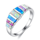 Unisex Trendy Colorful Opal Casual Anillos Boda Jewerly