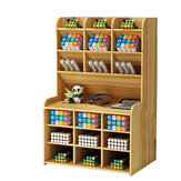 Wooden Pencil Pen Storage Box Tilting Desktop Stationary Holder Organizer Home Office Supplies Storage Rack B16