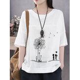 Flor de algodão estampada em gola redonda artística fina camiseta para mulheres