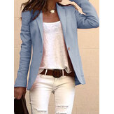 Women Solid Color Lapel Collar Slim Long Sleeve Blazers
