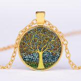 Винтажное геометрическое круглое дерево жизни драгоценный камень Кулон металлическое ожерелье Colorful стеклянное печатное ожерелье