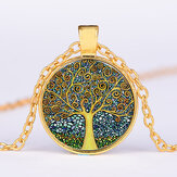 Colar Geométrico Vintage Geométrico Redondo da Árvore da Vida Pingente Metal Colorful Colar impresso de vidro