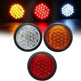 24 LED Vermelho Branco Amarelo Rodada Traseira traseira Stop Light Refletor de lâmpada de freio para caminhão Trailer Bus Boat