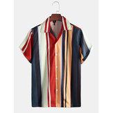 Chemises décontractées à manches courtes 100% polyester à rayures multiples pour hommes