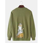 Heren katoen schattige kat terug print drop schouder lange mouw cartoon sweatshirts