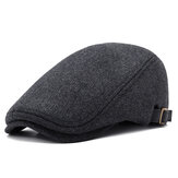 Mens Womens Winter Warm Woolen Beret Caps Adjustable Casual Cabbie Hats