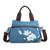 Brenice Women Lotus Lærred Handbag Chinese Crossbody Bag