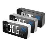 Alarma musical LED Reloj Función de repetición digital Temperatura Pantalla Mesa Espejo para el hogar Decoración Reloj