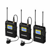MAMEN WMIC-01 UHF Dual-Channel Wireless Microphone System 2 Transmitters 1 Receiver 50 Channels Microphone for Camera Phone