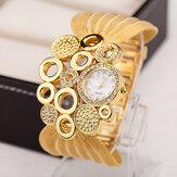 Deffrun relógio de pulso de senhoras de pulseira de malha de estilo retro Relógio de quartzo elegante