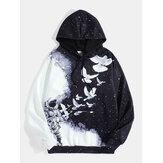 Mens 3D Pigeon & Starry Sky Print Design Drawstring Hoodies With Kangaroo Pocket
