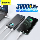 Baseus 65W USB PD 30000mAh Power Bank PD QC3.0 FCP SCP Hurtig opladning Ekstern batterioplader 3 indgange & 5 udgange med 100W USB-C til USB-C kabel til iPhone 12 12 Mini 12 Pro Til Samsung Galaxy Note 20 Ultra Xiaomi Mi10 til iPad Pro 2020 MacBook Air 20