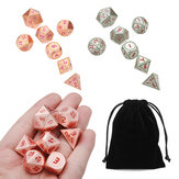7pcs Heavy Metal Polyhedral Dices DnD RPG SET w/ Bag