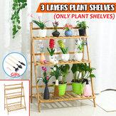 3 Layers Wooden Plant Shelves Garden Patio Flower Pot Rack Plants Stand