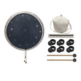 Steel Tongue Drum 14 Inch 15 Tone Drum Handheld Tank Drum Percussion Instrument Yoga Meditation Beginner Music Lovers Gift
