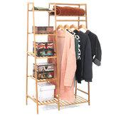 Bamboo Wood Garment Clothes Rack Clothing Closet Locker Hanging Rail Rack Dressing Room Organization