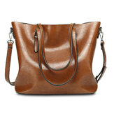 Women Oil Leather Tote Handbag Vintage Shoulder Bag