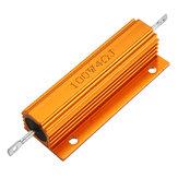 5 pcs RX24 100 W 4R 4RJ Metal Alumínio Caso Resistor De Alta Potência De Metal Dourado Shell Caso Resistor Resistência Do Dissipador