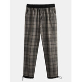 Mens 100% Cotton Tartan Plaid Loose Elastic Waist Cargo Pants With Pocket