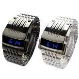 バイナリブルーLEDディスプレイメンズビジネスウォッチステンレス鋼電子デジタル時計