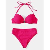 Women Solid Color Halter String Underwire High Waist Bikini For Swimming
