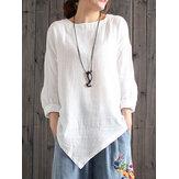 Camicia da donna irregolare con bordo irregolare in lino di cotone