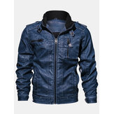 Mens Vintage Zip-Up Pocket Stand Collar PU Leather Motorcycle Jacket