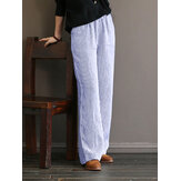 Women Stripe Print Simple Casual Wide Leg Pants with Side Pockets