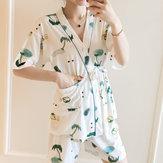 Women Short Sleeve Open Pocket Two Pieces Sleepwear