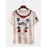抽象的なプリントカジュアルラウンドネック半袖Tシャツ