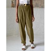 Bouton de taille haute élastique en velours côtelé Pantalon sarouel décontracté de couleur unie pour les femmes