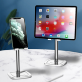 Cafele Aluminum Desktop Telescopic Height Adjustable Phone Holder Mount Tablet Stand For 4.0-12.9 Inch Smart Phone Tablet For iPhone 11 Pro Max SE 2020 For iPad Pro 12.9 Inch Home Office Youtube Tik Tok Video Live Stream