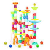 105 Pcs Colorful Transparent Plastic Creative Marble Run Coasters DIY Assembly Track Blocks Toy for Kids Birthday Gift