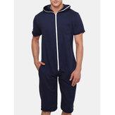 男性無地フード付きポケット半袖ホームジャンプスーツジッパーパジャマ