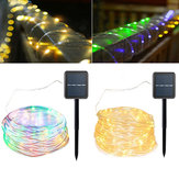 Solar Powered 120LEDs 8Modes Waterproof Fairy Copper Wire Rope String Light for Christmas