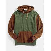 Heren hoodies met contrasterende kleur patchwork kangoeroezak