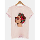 Short Sleeved Round Neck Funny Ladies Head Portrait Printed Casual T-shirts For Women