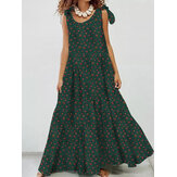 Women Cotton Floral Printing Sleeveless Detachable Bohemian Lace-Up Pleated Maxi Dress