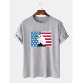 100% Pamuk Amerikan Bayrağı Baskı Ekip Boyun Kısa Kollu T-Shirt
