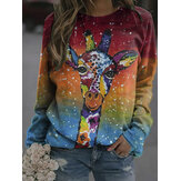 Frauen Colorful Giraffe Print Langarm Sweatshirts