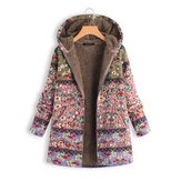 Perempuan Winter Patchwork Floral Printed Hooded Coats