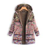 Cappotti con cappuccio stampati floreali con patchwork invernale da donna