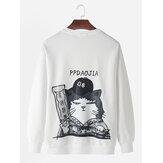 Mens Cat Cartoon Back Print Drop Shoulder Casual Sweatshirts met lange mouwen