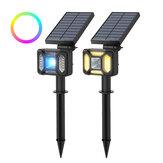 BlitzWolf®BW-OLT5 RGB + Sıcak Beyaz Solar Çim Işık Manzarası Lamba IP44 Su Geçirmez Çift Aydınlatma Modu Bahçe Tatil Noel Süslemeleri Işıklar