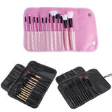 12pcs Makeup Brush Set Cosmetics Makeup Brush Kit With Leather Case Foundation Eyeliner Blending Concealer Mascara Eyeshadow Face Powder