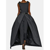 Elegant Women Sleeveless Solid High Split Long Pants Jumpsuits